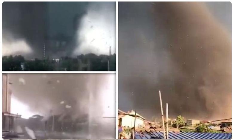 Tornado devastates town in China, సుడిగాలి బీభత్సం, ఆరుగురు మృతి