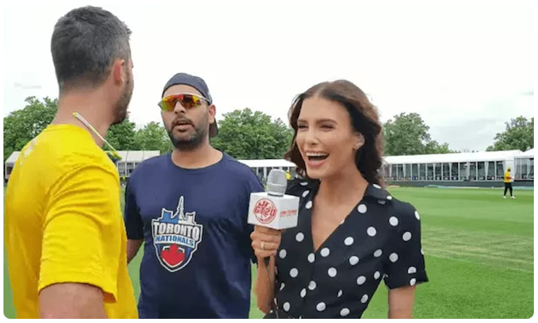 Yuvraj Singh crashes Ben Cutting interview with fiancee Erin Holland at Global T20 Canada, లవర్స్ ఇంటర్వ్యూ.. మధ్యలో యువరాజ్ ఏమడిగాడబ్బా.?