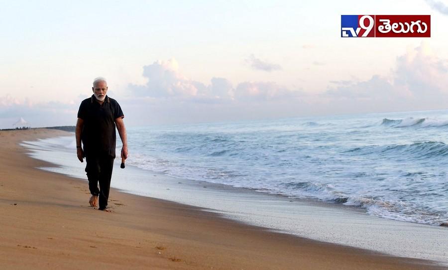 Modi in Mahabalipuram Beach, మల్లాపురం బీచ్కు జాగింగ్ వెళ్లిన  'మోదీ'