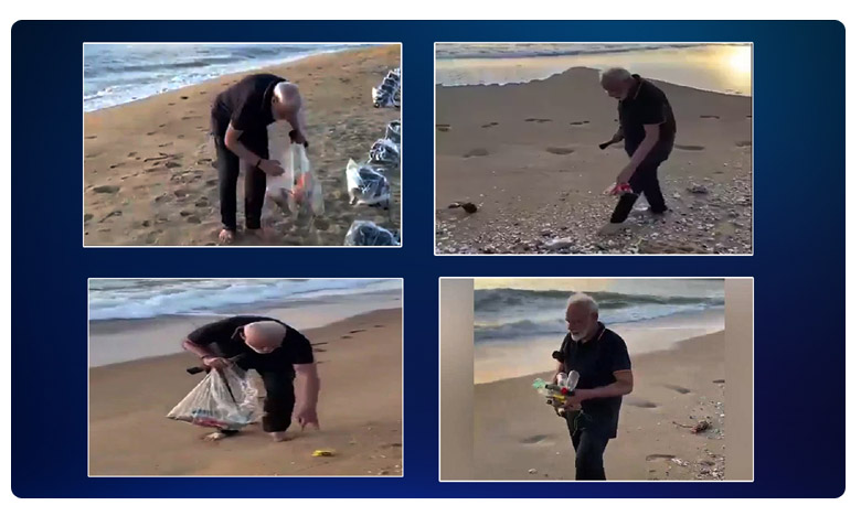 PM Modi picks up garbage on Mamallapuram beach before meet with Xi, మహాబలిపురంలో 'స్వచ్ఛ భారత్'.. ప్లాస్టిక్ వ్యర్థాలను ఏరిన మోదీ