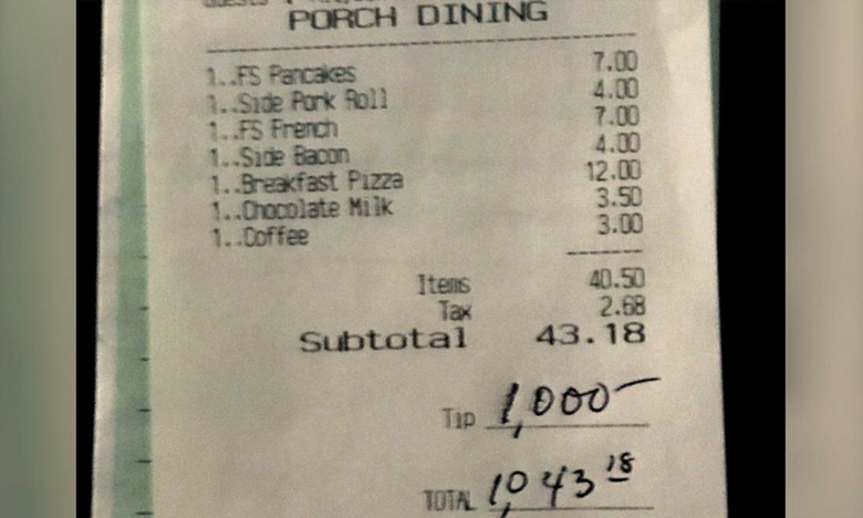 Customer leaves restaurant staff 1000 dollars tip to thank them for working through the pandemic, కస్టమర్ ఉదారత.. వెయిటర్కి రూ.75 వేల టిప్