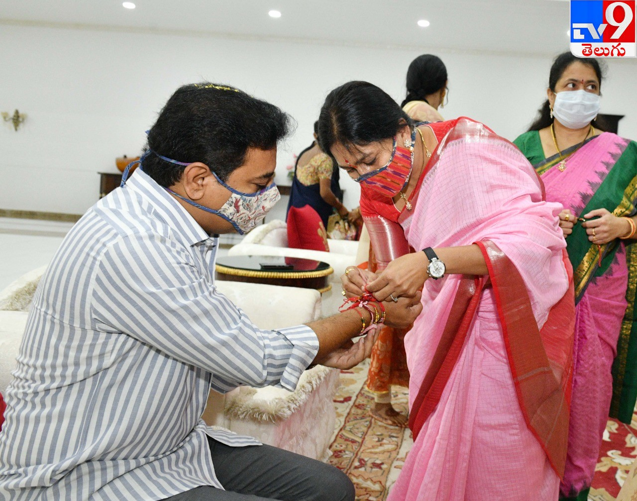 Raksha Bandhan IT Minister KTR, మంత్రి కేటీఆర్కు రాఖీ కట్టిన మాజీ ఎంపీ కవిత