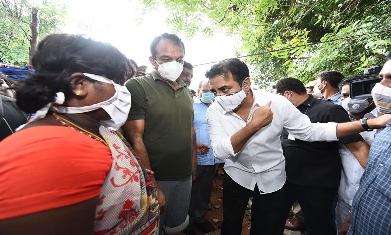 minister ktr visited the flood affected areas in LB Nagar, ఎల్బీనగర్ లోతట్టు ప్రాంతాల్లో మంత్రి కేటీఆర్ పర్యటన