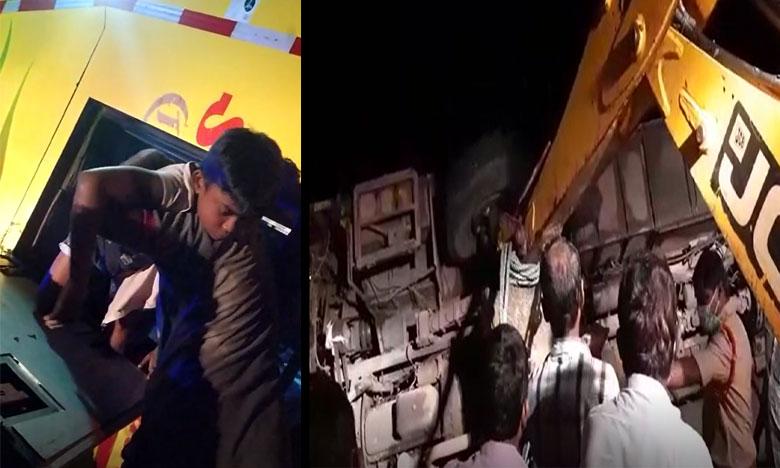 private bus road accident in guntur district phirangipuram, ఫిరంగిపురం దగ్గర 20 మందితో కూడిన బస్సు బోల్తా