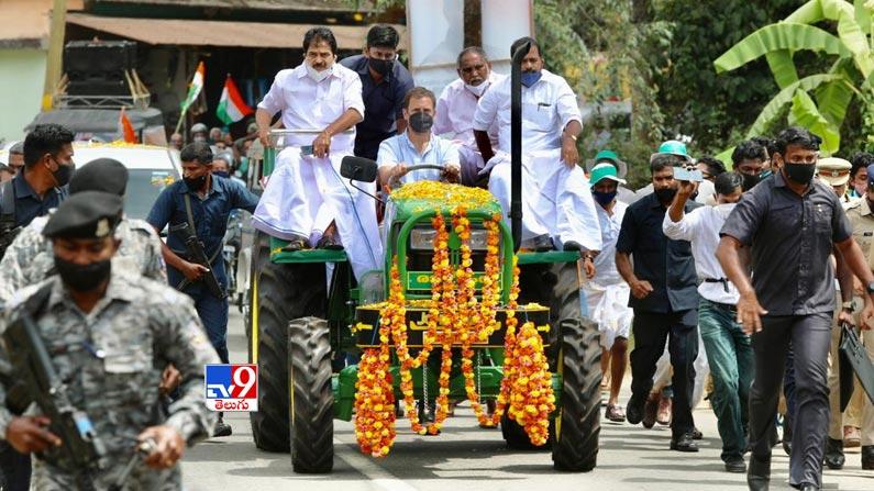 Rahul gandhi leads tractor rally 2 Rahul Gandhi Rides Tractor Photos: Rahul Gandhi turns tractor driver ... Congress leader Rahul Gandhi tractor rally photos in Kerala.  - Rahul gandhi leads tractor rally in kerala Photos