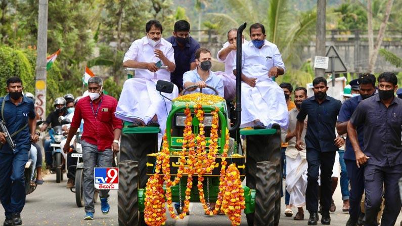 Rahul gandhi leads tractor rally 4 Rahul Gandhi Rides Tractor Photos: Rahul Gandhi turns tractor driver ... Congress leader Rahul Gandhi tractor rally photos in Kerala.  - Rahul gandhi leads tractor rally in kerala Photos