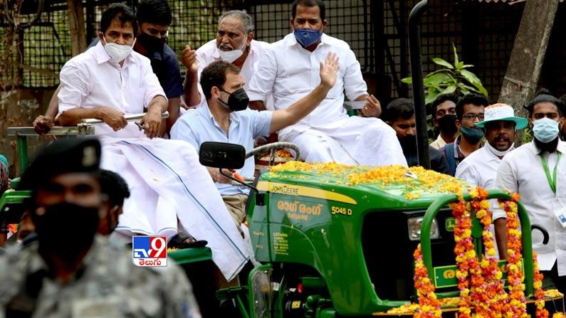 Rahul gandhi leads tractor rally 5 Rahul Gandhi Rides Tractor Photos: Rahul Gandhi turns tractor driver ... Congress leader Rahul Gandhi tractor rally photos in Kerala.  - Rahul gandhi leads tractor rally in kerala Photos