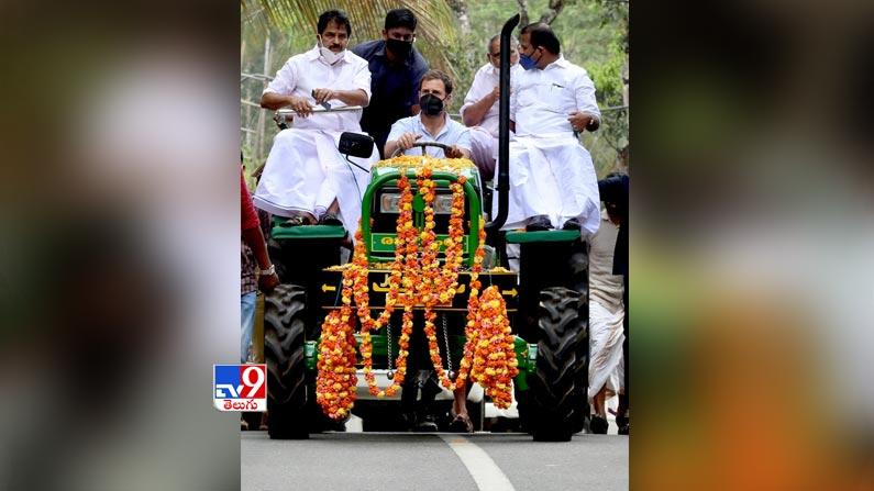 Rahul gandhi leads tractor rally 6 Rahul Gandhi Rides Tractor Photos: Rahul Gandhi turns tractor driver ... Congress leader Rahul Gandhi tractor rally photos in Kerala.  - Rahul gandhi leads tractor rally in kerala Photos