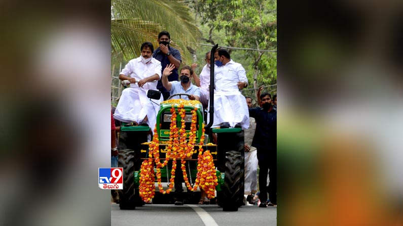 Rahul gandhi leads tractor rally 7 Rahul Gandhi Rides Tractor Photos: Rahul Gandhi turns tractor driver ... Congress leader Rahul Gandhi tractor rally photos in Kerala.  - Rahul gandhi leads tractor rally in kerala Photos