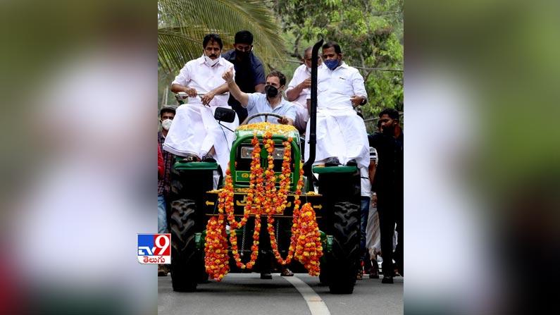 Rahul gandhi leads tractor rally 9 Rahul Gandhi Rides Tractor Photos: Rahul Gandhi turns tractor driver ... Congress leader Rahul Gandhi tractor rally photos in Kerala.  - Rahul gandhi leads tractor rally in kerala Photos