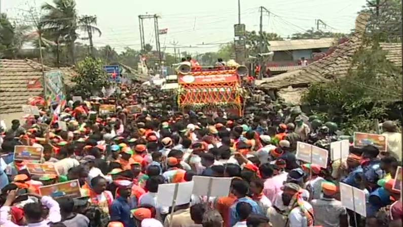 Amitsha Nandigram Road Show 1 West Bengal Assembly elections: BJP, TMC contest campaign .. Amit Shah, Mamata road show in Nandigram - West Bengal Election 2021: nandigram constituency election campaign to end today both tmc and bjp road show
