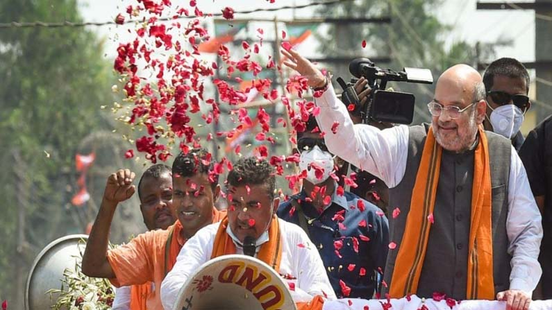 Amitsha Nandigram Road Show 2 West Bengal Assembly elections: BJP, TMC contest campaign .. Amit Shah, Mamata road show in Nandigram - West Bengal Election 2021: nandigram constituency election campaign to end today both tmc and bjp road show