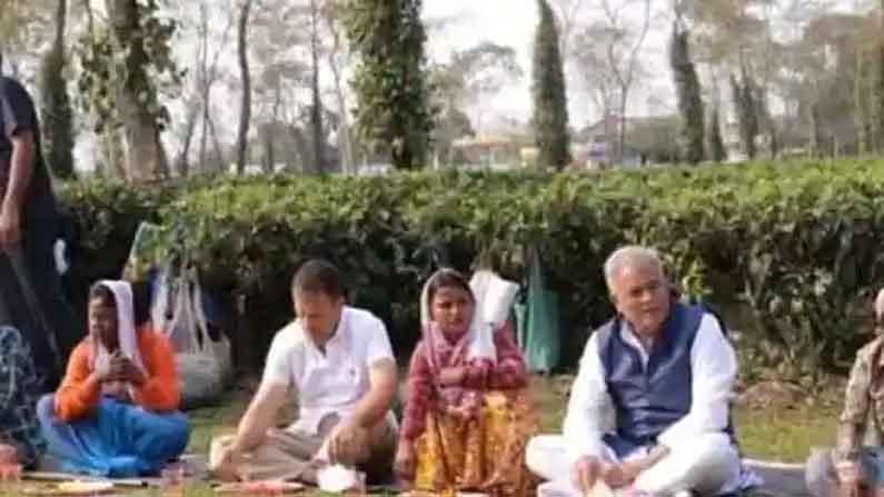 Rahul Gandhi Stops For Lunch At Tea Estate In Assam