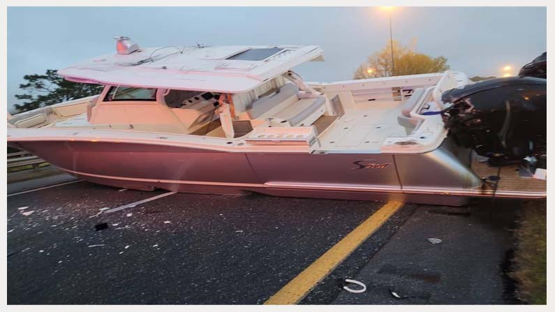 A Boat Blocks Florida Inter State Highway 2