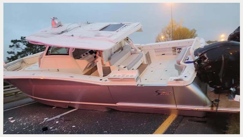 A Boat Blocks Florida Inter State Highway 5