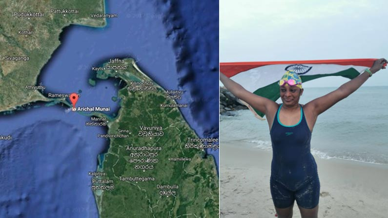 smt syamala 1 Swimmer Smt G. Syamala: A Hyderabad woman who successfully swam 30 km at sea at the age of 47 - Syamala of Hyderabad became the first Telugu lady and second lady in the world to swim the 30 km Palk Strait Sri Lanka to India photo story