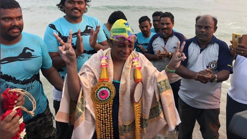syamala Swimmer Smt G. Syamala: A Hyderabad woman who successfully swam 30 km at sea at the age of 47 - Syamala of Hyderabad became the first Telugu lady and second lady in the world to swim the 30 km Palk Strait Sri Lanka to India photo story